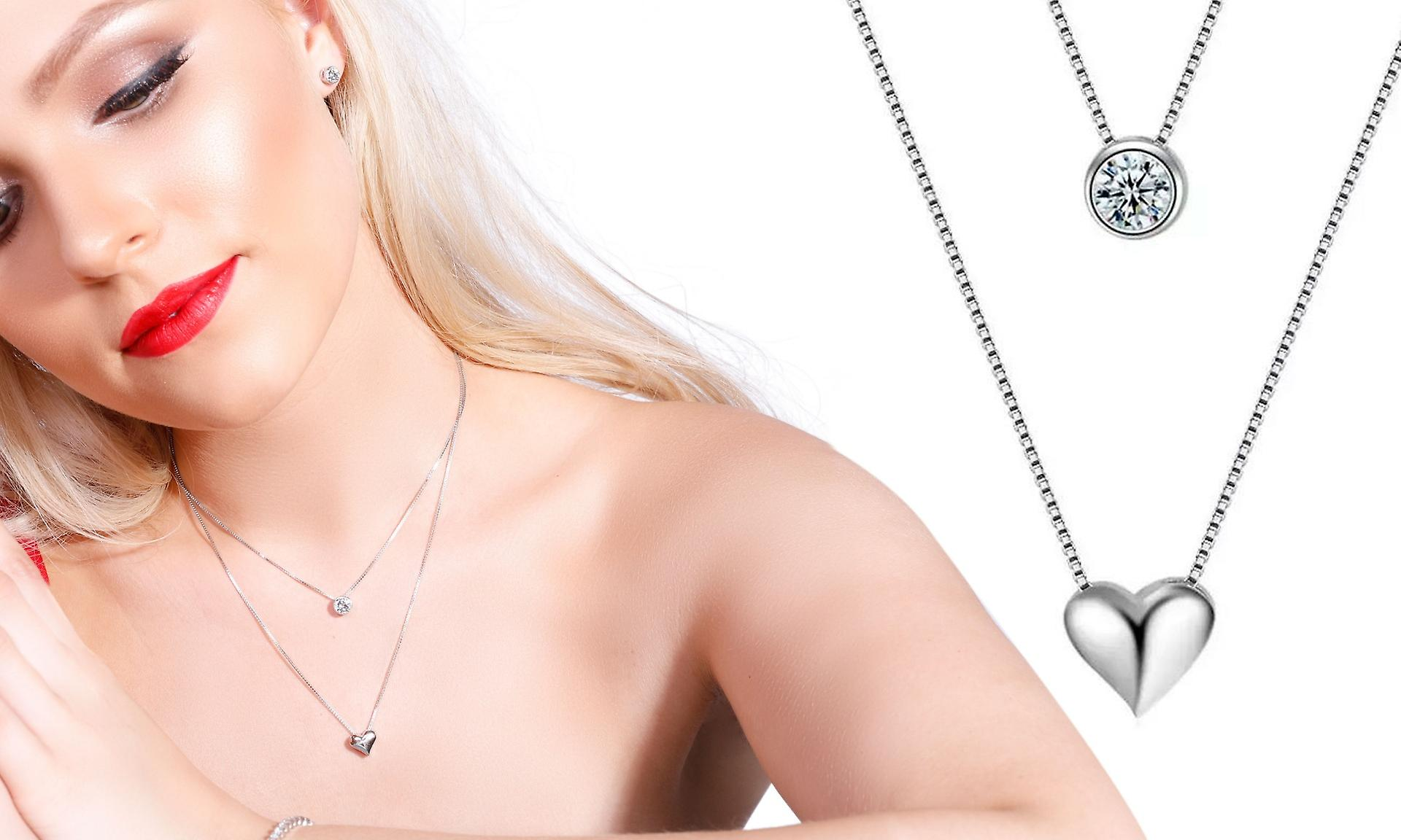 925 Sterling Silver Layer Bezel Round With Heart Pendant Necklace