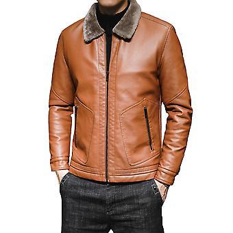 Allthemen Men ' s solid Lapel lână faux din piele Coat