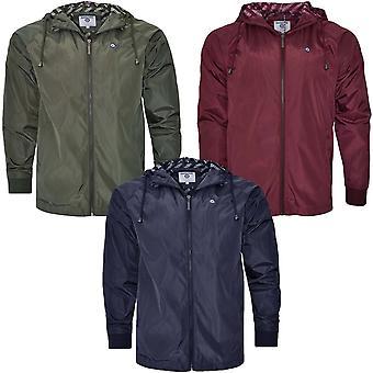 Lambretta Mens Hooded Lightweight Casual Full Zip Mesh Lined Jacket Coat Top