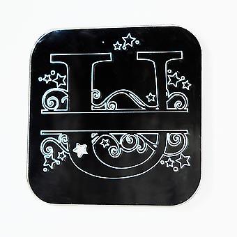 Wirbel und Sterne Alphabet Square Acrylspiegel Buchstabe U