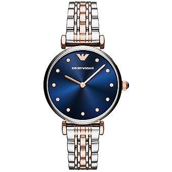 Montre Emporio Armani AR11092 - Bracelet Acier Dor� Rose Cadran Bleu Saphir Femme