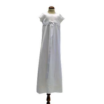 Dopklänning  Med Kort ärm, Vit Bred Rosett  Sess.ka