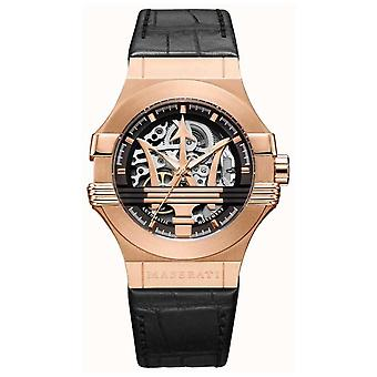 Maserati Potenza   Black Leather Strap   Rose Gold PVD Plated Case   R8821108030 Watch