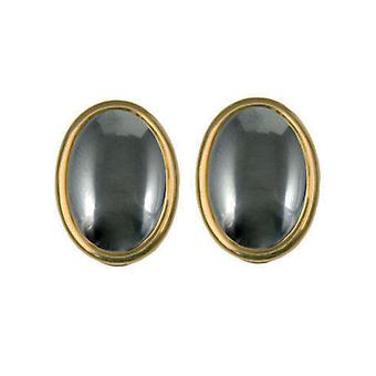 Eternal Collection Cabochon Hematite Clip On Earrings (Gold)