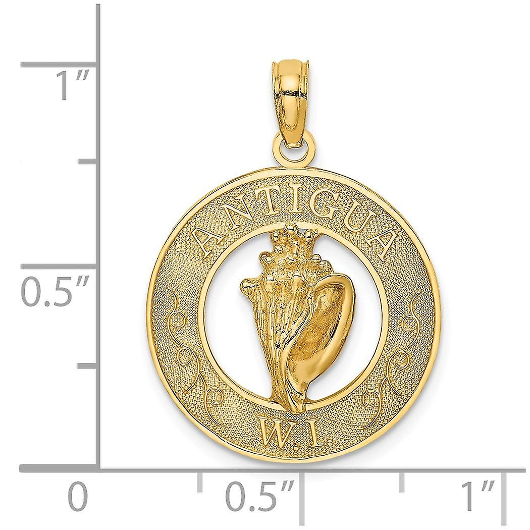 14k Gold Antigua W.i. Round Frame With Conch Shell Center Charm Pendant Necklace Jewelry Gifts for Women