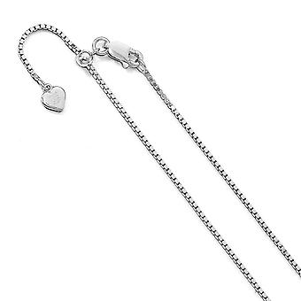 1.2mm 925 Sterling Silver Adjustable Box Chain Necklace Jewelry Gifts for Women - Length: 11 to 30