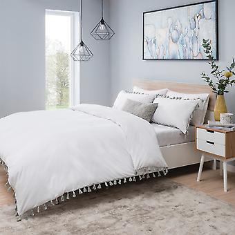 Quasten weiß und grau Bettwäsche Set