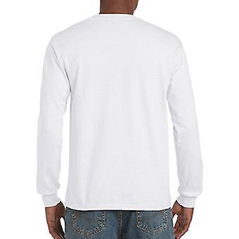 Gildan Men's Ultra Cotton Jersey Pitkähihainen T-paita, valkoinen, suuri