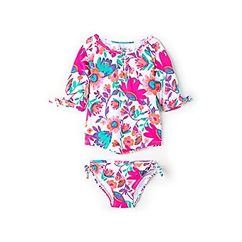 Hatley Little Girls' Rash Guard Swimsuit Sets, Tortuga Bay Floral, 2 Anos