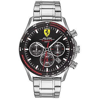 Scuderia Ferrari | Män's Pilota Evo | Armband i rostfritt stål | Svart urtavla | 0830714 Klocka
