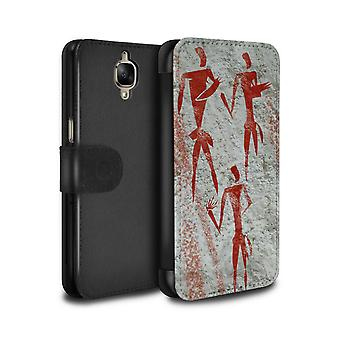 STUFF4 PU Leather Wallet Flip Case/Cover for OnePlus 3/3T/Gatherer/Red/Cave Painting