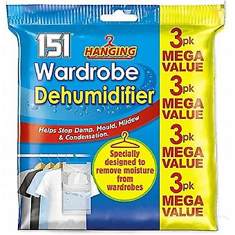 3 Pack Hanging Wardrobe Dehumidifier Stop Mould & Damp Moisture Absorber