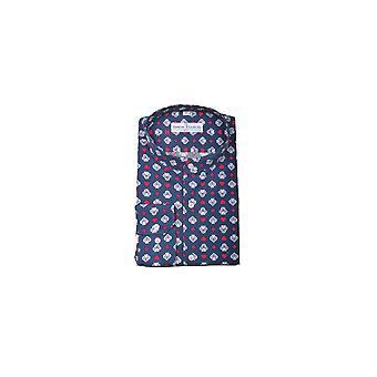 Jenson Samuel Navy & White Patterned Collarless Regular Fit Shirt