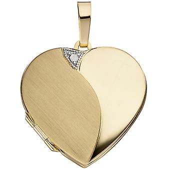 Naisten medaljonki sydän 585 kultaa kultaa matta riipus avaamiseen