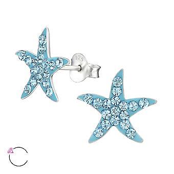 Starfish - 925 Sterling Silver Crystal Ear Studs - W32788x