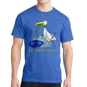 Don't Ever Give Up The Frog And The Crane Graphic Men's Royal Blue T-shirt
