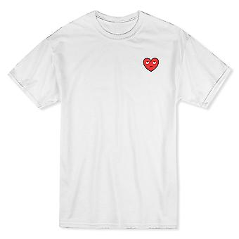 Coeur cool Looking Up poitrine gauche graphique blanc T-shirt homme