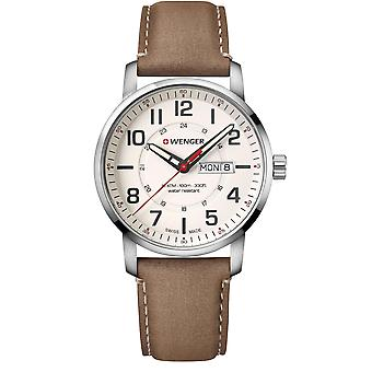 Wenger Attitude Quartz Cream Dial Brown Leather Strap Men's Watch 01.1541.103 RRP £159