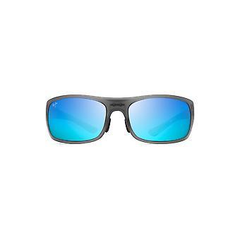 Maui Jim Big Wave Wrap Zonnebril - Doorschijnende Matte Grey /Blue Hawaii gepolariseerd - Extra Groot