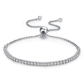 Säädettävä naisten ranne koru koristeltu Swarovskin kristalli ja hopea 925