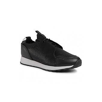 Emporio Armani Bivone Leather Black Sneaker Trainer