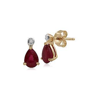 Aretes colgantes clásicos de pera y diamantes en oro amarillo de 9 qt 135E1263029