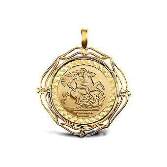 Jewelco London Solid 9ct Gold Wavy Wings Frame St George & Dragon Medallion Pendant (Full Sov Size)