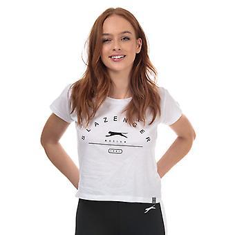 Women's Slazenger Ilena Beskåret T-shirt i hvid
