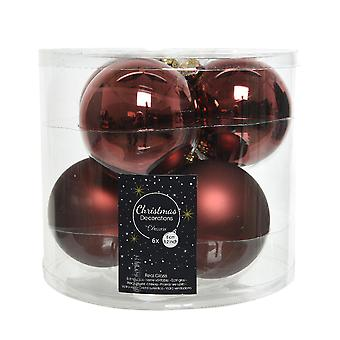 6 8cm Rosewood Brown Glass Christmas Tree Bauble Decorations