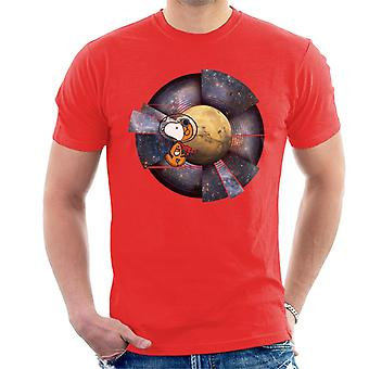 Peanuts Snoopy Astronaut Space Background Men's T-Shirt