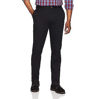 Pantalone chino piatto resistente alle rughe essentials da uomo, nero, 42W x 30L