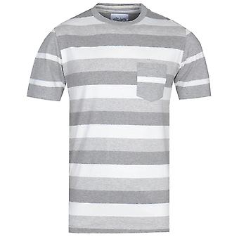 Albam Whelan White & Grey Stripe T-Shirt