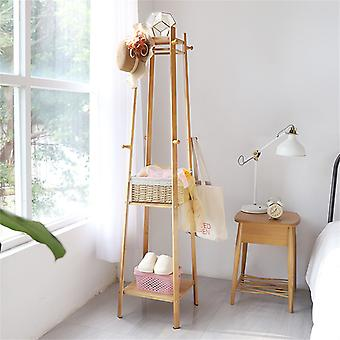 3-tier Sturdy Bamboo Coat Stand Rack