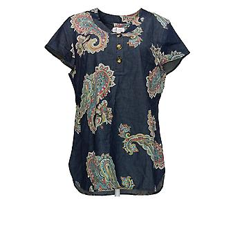 Denim & Co. Mulheres's Top Printed Denim Cap Sleeve Tunic Blue A376897