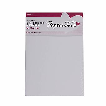 ペーパーマニアカード&封筒スカラップ5x7インチホワイト(12pk) (PMA 150411)