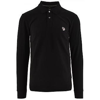 بول سميث الأسود العادية تناسب طويل الأكمام قميص بولو