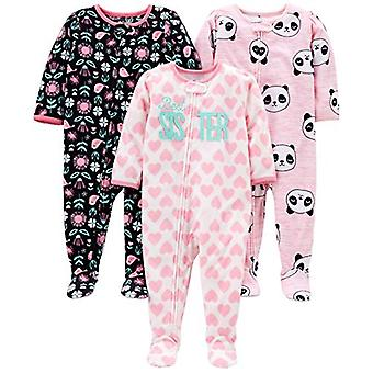 Simple Joys par Carter-apos;s Girls-apos; 3-Pack Loose Fit Flame Resistant Fleece Fleece Footed Pyjamas, Sister/Panda/Floral, 12 Months