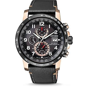 Citizen Watches At8126-02e Mens Eco-drive World Chrono A.t. Black Leather Watch