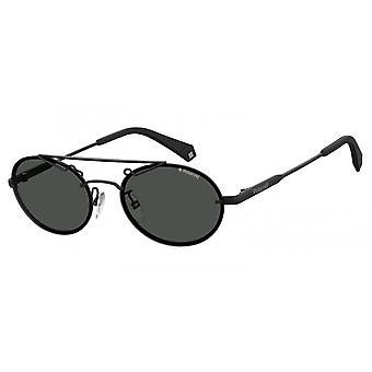 نظارات شمسية للجنسين 6094/S807/M9 بيضاوي أسود/ رمادي
