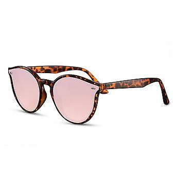 النظارات الشمسية المرأة البيضاوي كامل الحدود البني / الوردي