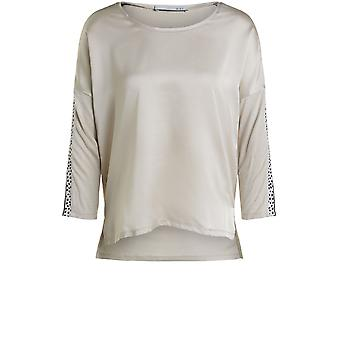 Oui Light Stone Silky Front Top