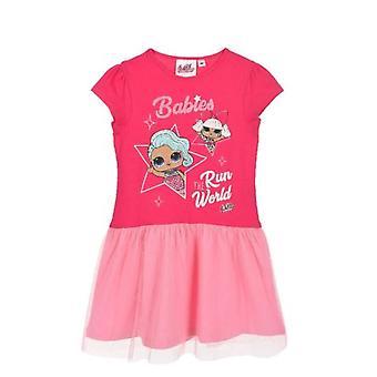 Dievčatá ET1356 LOL Prekvapenie krátky rukáv šaty s tylom