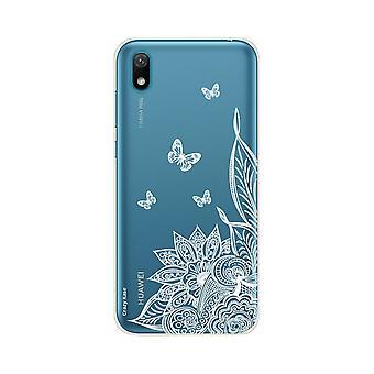 Romp voor Huawei Y5 2019 Flexibele Mandala bloem en witte vlinders