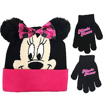 Beanie Cap - Disney - Minnie Mouse - Pink/Black Face w/Gloves 403369-2