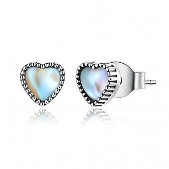Silver Earrings Heart Of Glass - 6772