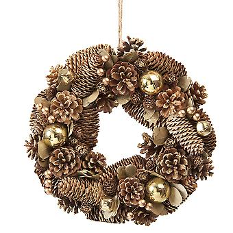 30cm Gold Balls, Berries, Bells, and Pinecones Wreath in a box Christmas Home Decoration