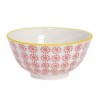 Nicola Spring Hand-Printed Cereal Bowl - Japanese Style Porcelain Breakfast Dessert Serving Bowls - Red - 16cm