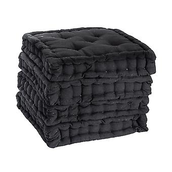 Nicola Spring Square Padded French Mattress Dining Chair Cushion Seat Pad - Black - Pack of 4