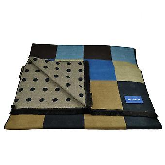 Ties Planet Lupi Romani Navy, Light Blue, Royal Blue, Beige & Brown Checked & Beige & Navy Polka Dot Patterned Double Face Scarf