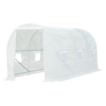 Outsunny 4.5 x 2 x 2 m Large Galvanized Steel Frame Outdoor Poly Tunnel Garden Walk-In Patio Greenhouse - White